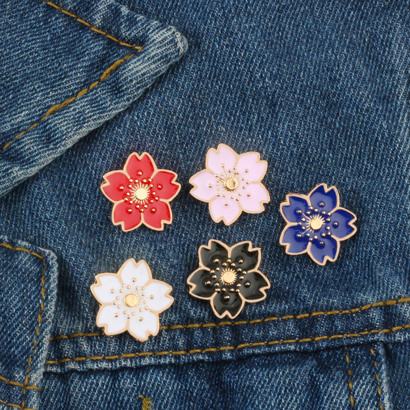 5 Colors Flowers Brooches Cherry Blossoms Women Dress Enamel Pins Jackets Lapel Pin Clothes Hats Badge Cartoon Jewelry Kids Gift image