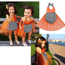 2016 Newborn Baby Girls Sequins Stripe Bodysuit Tulle Backless Sunsuit One-Pieces Clothes Costume