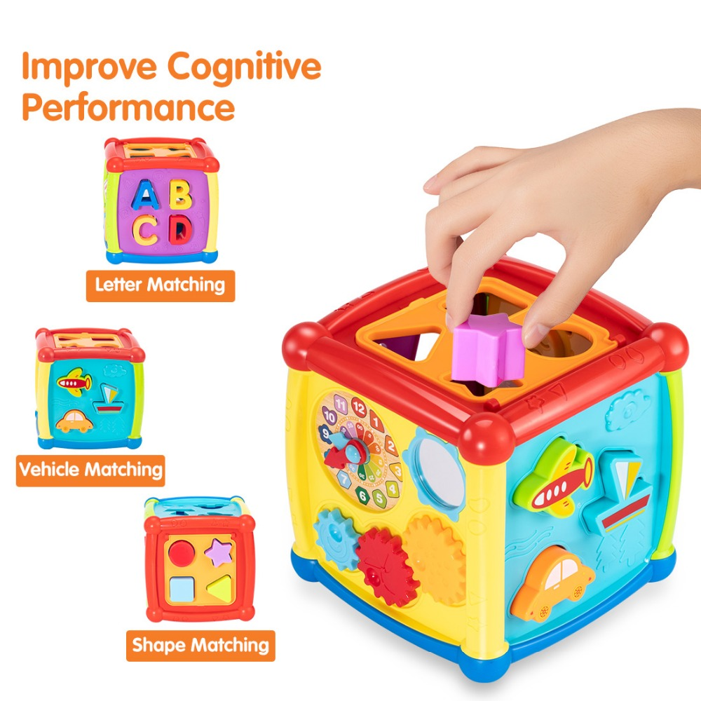 Tumama Multifunctional Musical Toys Baby Fun Clock Musical Electronic Geometric Blocks Sorting Learning Educational Toys Gifts