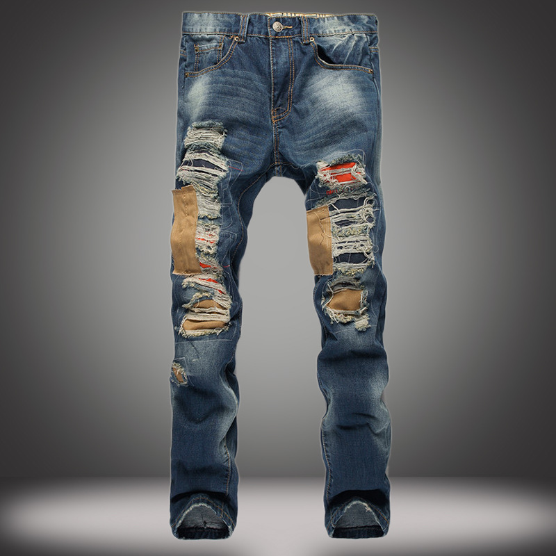 ФОТО 2017 new color italy designer mens distressed  jeans marque de luxe simply straight male men ripped denim jeans high quality