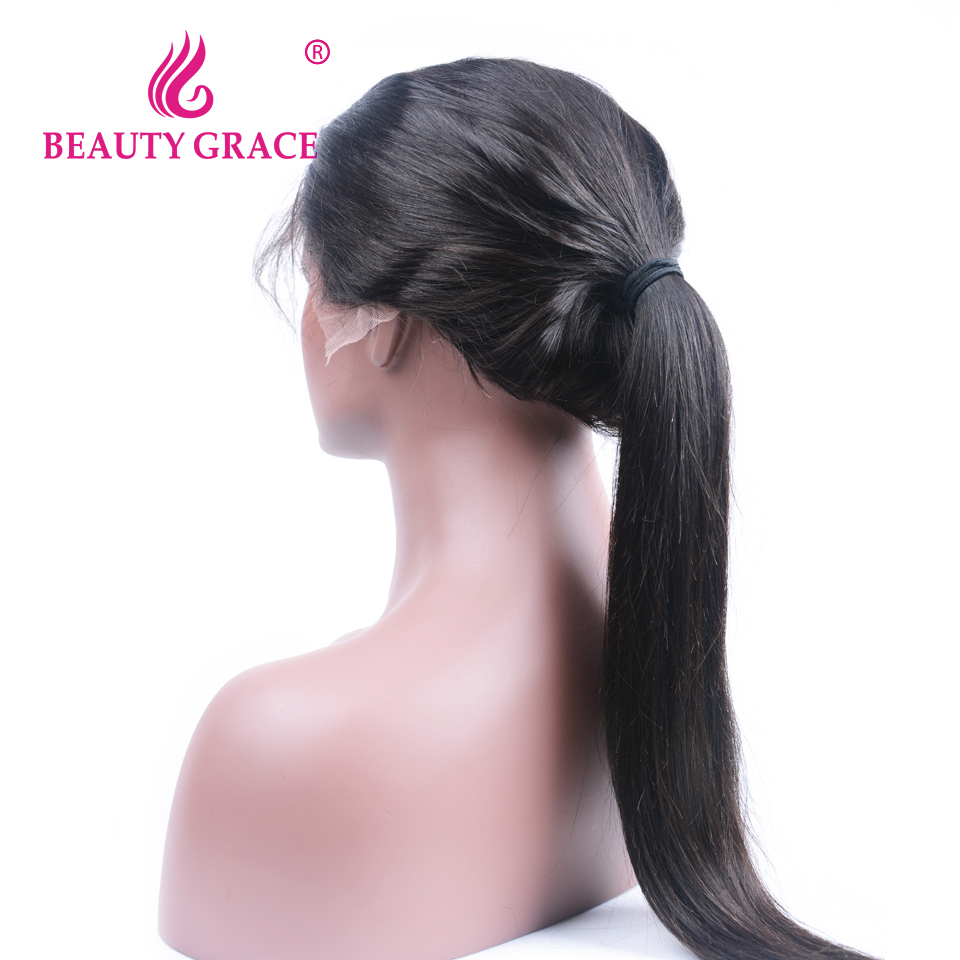 Beauty Grace Glueless Lace Front Human Hair Wigs For Black Women 130% Density Non-Remy Brazilian Straight Wig With Baby Hair