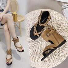 2019 Fashion Gladiator Women Sandals Rome Sandals Flat Sandals Khaki/Black Summer Female Shoes Casual Lady Shoes Woman Footwear black fashion jewelry embellished flat sandals