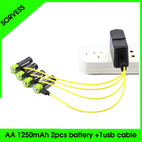 SORVESS 2PC/Set aa Lipo lithium polymer 1250mAh Battery ZNTER Rechargeable 2A 1.5V With Micro Cable Cell For Camera Toys