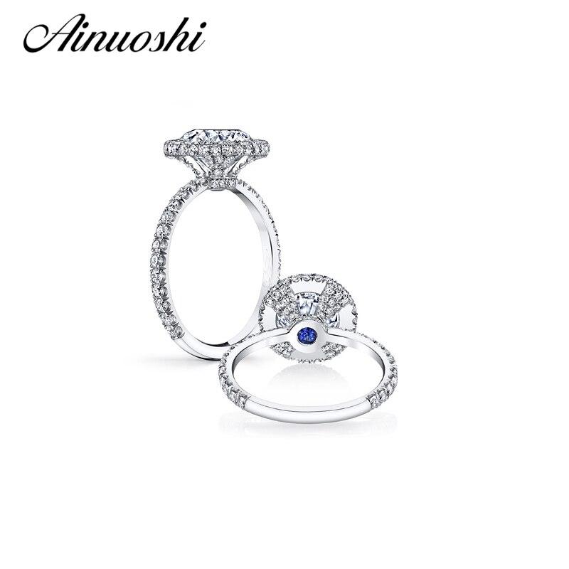AINOUSHI 2017 Stunning Prong Setting 4ct Ring Hearts & Arrows Cut Sona Halo Engagement Ring For Women Wedding