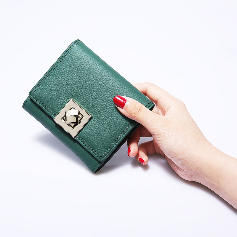 New Style Genuine Leather Short Wallet Lady New Travel Lock Hasp Solid Color Mini Cow Leather Coin Purse Card Holder Bags new lady women leather wallet zipper mini purse credit card holder bags simple style handbag party as gift high quality 52
