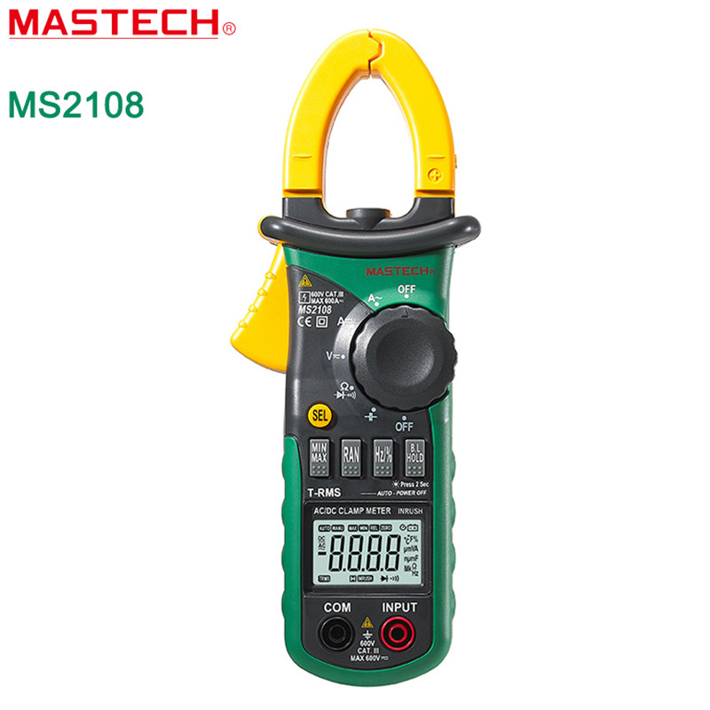 MASTECH MS2108 Digital Multimeter Amper Clamp Meter Current Clamp Pincers AC/DC Current Voltage Capacitor Resistance Tester