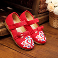 New chinese style fashion beautiful embroidery candy color child canvas flats shoes dance shoes for children foot length 15-19cm
