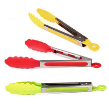 Hot Sale 1Pcs Stainless steel Plastic BBQ Tongs Clip Salad Bread Serving Tongs Kitchen Tools Wholesale Random color