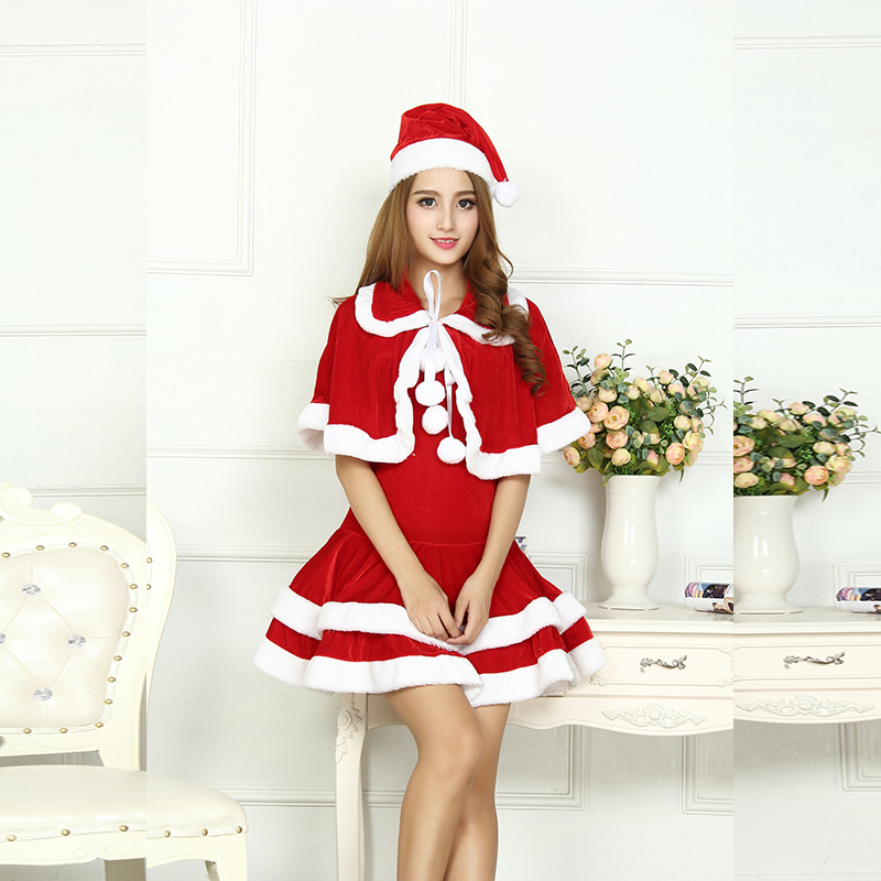 Sexy Adult Women Christmas Costume Halloween Party Sweetheart Miss Santa CosPlay Dress+Doll Collar Cape + Christmas Hat 3pcs/Set