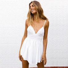 New Sexy Summer Jumpsuits For Women 2019 Tube Top Strap V-Neck Open Back Hook Flower Tie Jumpsuit Female Romper Women Clothes недорого