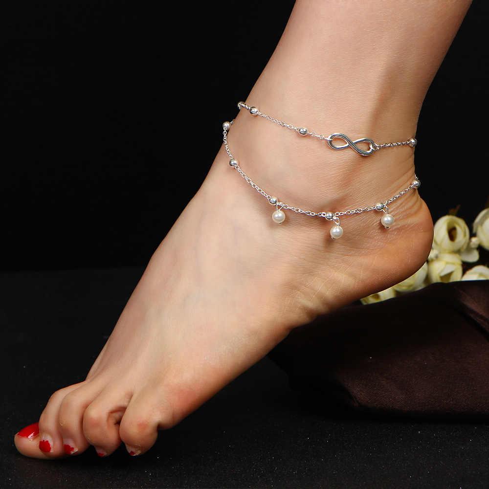 セクシーなチェーン二重層足首ブレスレット用女性サンダルビーチフットジュエリーアクセサリー夏高級ウェディング真珠アンクレット