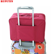 Kostki do pakowania RUPUTIN damskie torby podróżne podróżne podróżne o dużej pojemności wodoodporna torebka męska walizka na kółkach tanie tanio Stałe 38cm WOMEN Moda Poliester 0 26kg 18cm Miękkie zipper 27cm Podróż torba Wszechstronny Polyester F005 Wine red Gray Green Blue