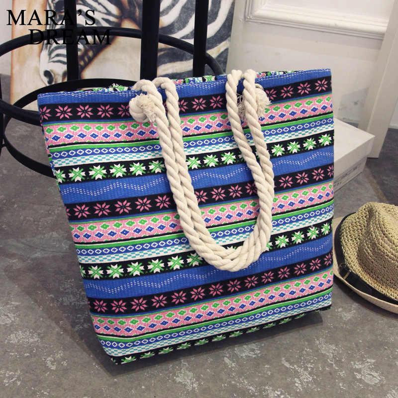 Mara's Dream 2019 ผู้หญิงกระเป๋า Floral ความจุขนาดใหญ่ Tote Canvas กระเป๋าสะพายลายคลื่นชายหาดกระเป๋า Casual Tote กระเป๋า feminina
