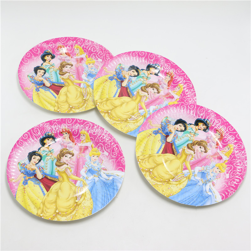 30pcs/lot 7''Cartoon princess Paper Plates for Valentine Birthday Wedding Nursery Party Tableware Party Supplies for christmas