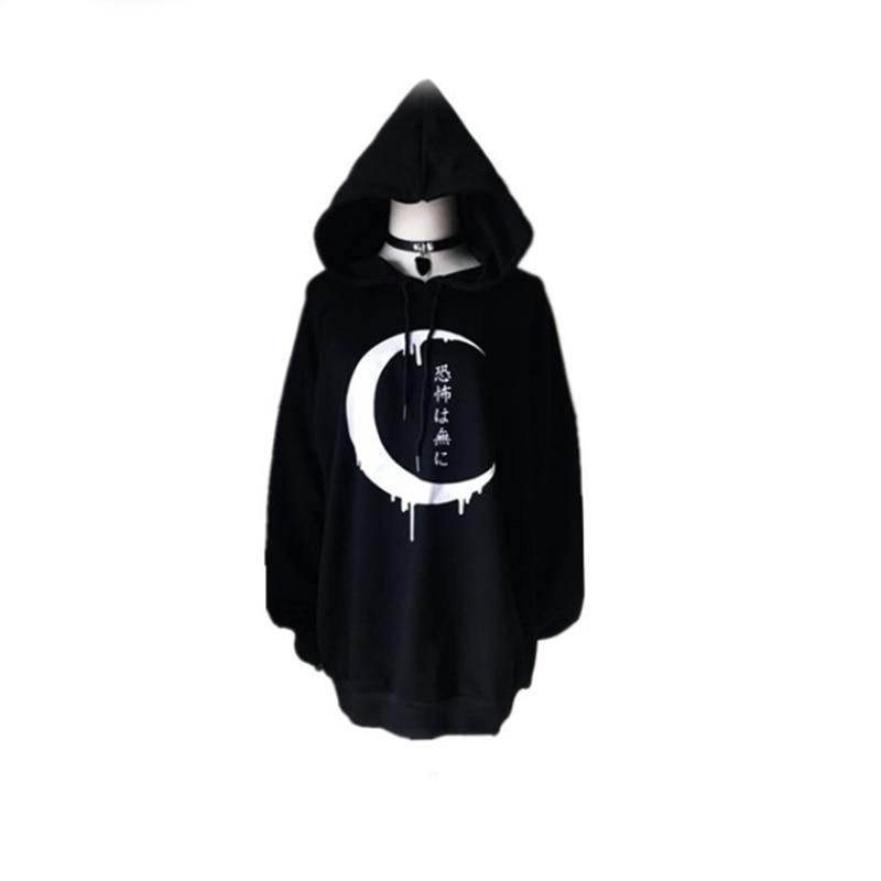 Gothic Women Hoodies Long Sleeve Japanese Moon Print Pullover Loose Hoody Black Thin Sweatshirt