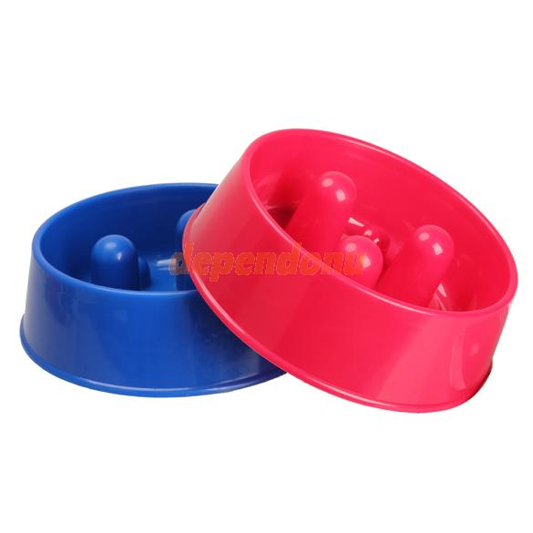 Pet Slow Feed Bowl Feeder Dish Dog Cat Water Bowl Dark Red Dark Blue Free Shipping