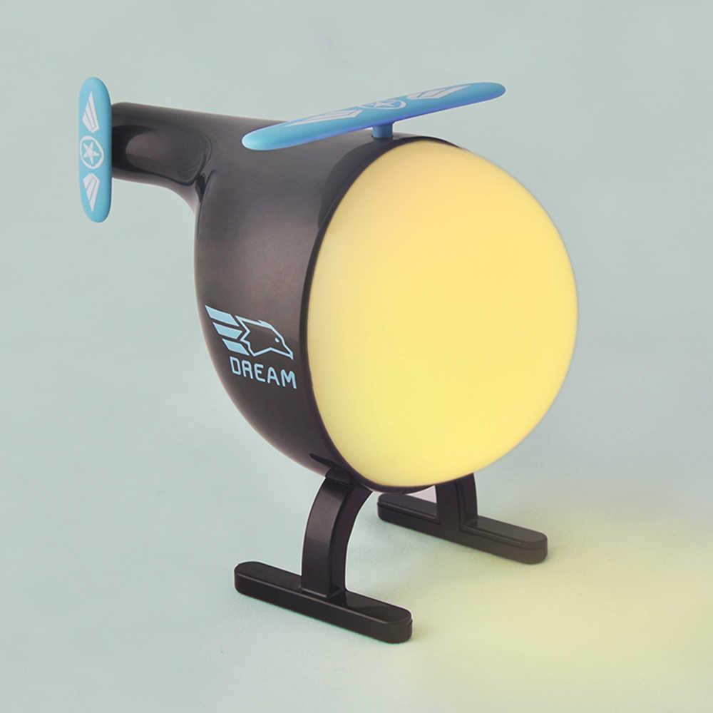 Светодиодный ночник с датчиком вибрации, вертолет, USB, перезаряжаемый, для детской комнаты, сменный цвет, ночник, лампа с зарядной базой usb