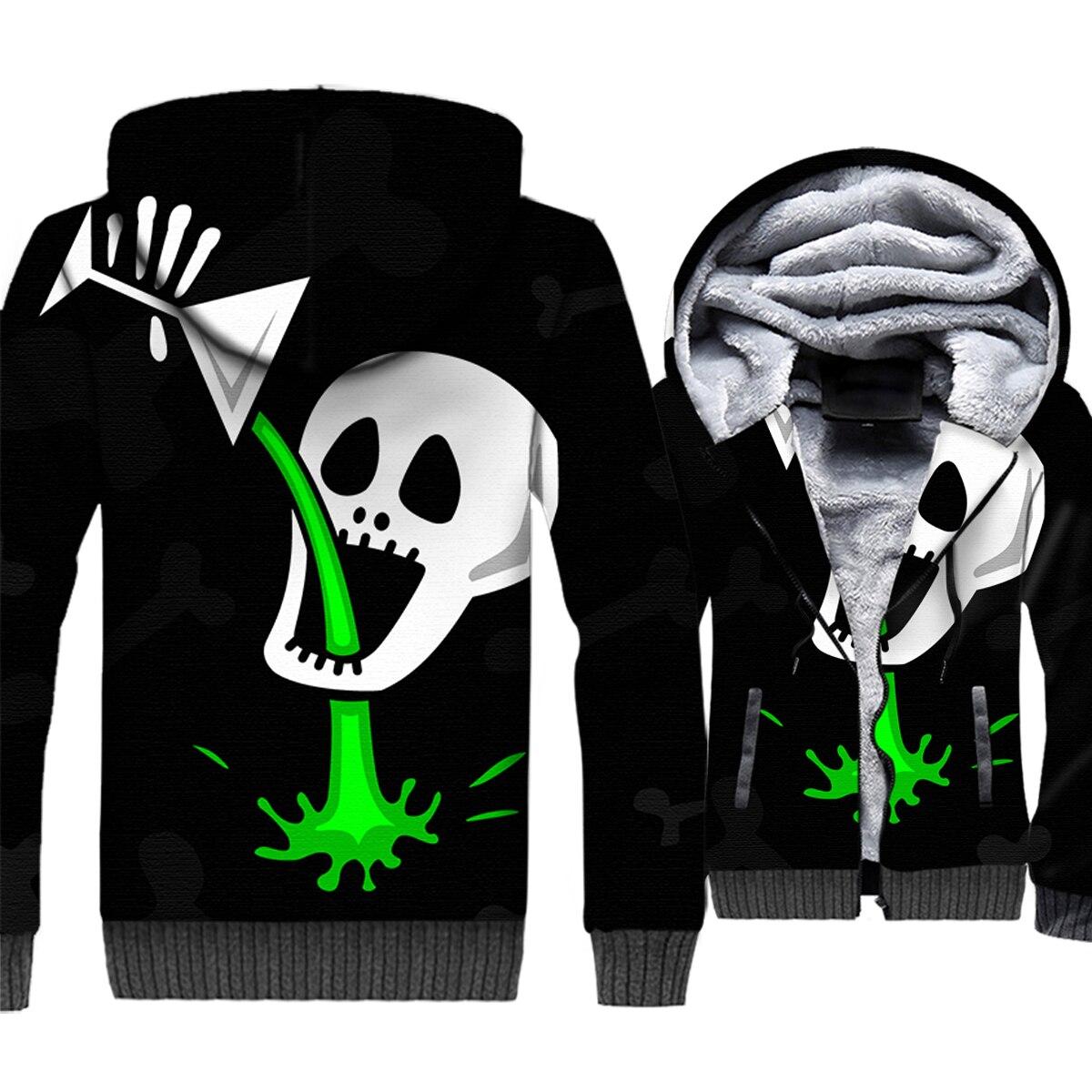Funny Skull Hoodie Unique Creative Skull Drink Jackets 3D Men Harajuku Sweatshirt 2018 Winter Fleece Coat Hip Hop Streetwear 5XL