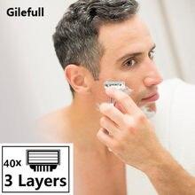 40 pçs/lote Lâminas de Barbear para Homens lâmina de Barbear, AAAAA 3 Camada Cassete Barbeador Barbear Mache Para RU & Euro