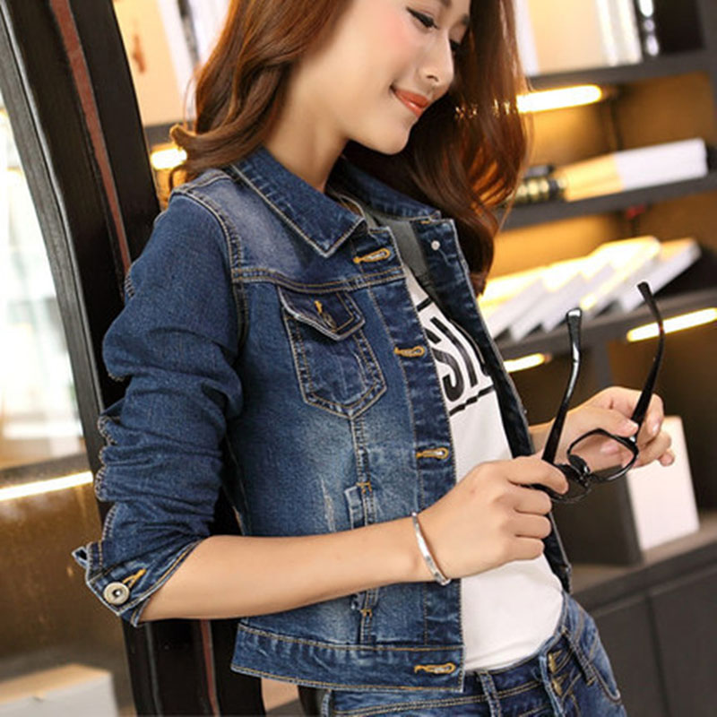 Spring Autumn Women Short <font><b>Jeans</b></font> Coat Long <font><b>Sleeve</b></font> Turn Down Collar Vintage Jacket Denim Coats Casual Ladies Girls Outwear 99 H9