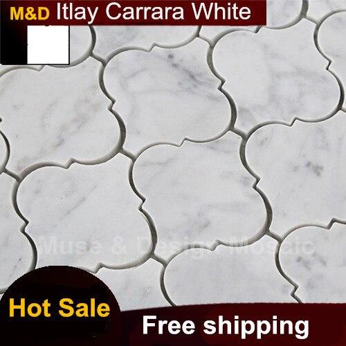 Aliexpress Buy Lantern Shaped Carrara White Marble Mosaic