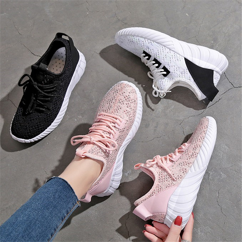 JIANBUDAN/ White womens shoes Breathable comfortable sneakers Knitted mesh Lightweight casual Walking size 35-40