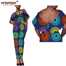 2018 latest african fabric jumpsuit for women AFRIPRIDE tailor made strapless slash neck casual cotton A1829008