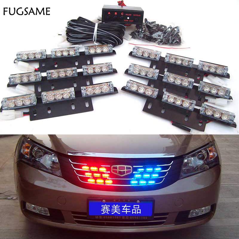 Free Shipping 12V 54LED Car Auto Truck LED Beacon Emergency Recovery Flashing Warning Strobe Light Red Blue White Green Amber 4 led 12 24v car strobe flash light white red amber light vehicle truck rear side light car emergency warning lamp drop shipping