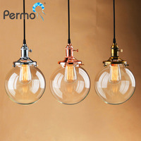 Permo VINTAGE INDUSTRIAL PENDANT LIGHT GLASS GLOBE SHADE CEILING LAMP FIXTURE