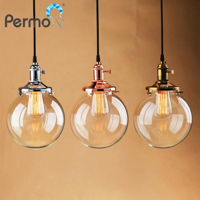 PERMO Glass Globe Shape Pendant Lights Copper Rope Pendant