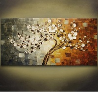 Unframed Handpainted Flower Tree Palette Thick Knife Oil Painting On Canvas Home Wall Decor For Living Room Artwork