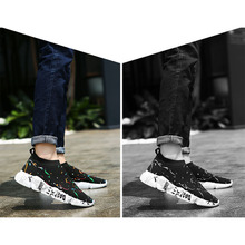 New Arrival Breathable Graffiti Couple Mesh Sneakers  Lightweight Slip-on Walking Shoes for Summer