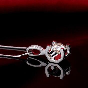 Fashion Slide Wedding Pendant 18K White Gold 1 Carat Round Shape Moissanite Diamond Necklace Gifts for Women 2