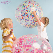 FENGRIS 36inch Filled Balloons Confetti Balloon Clear With Wedding Decoration Festival Birthday Party Supplies