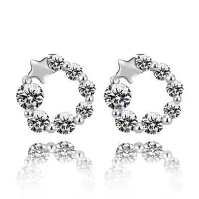 b84c0d1f8b Alta calidad de plata plateada pendientes para las mujeres Lucky súper  cristal flash de joyas de moda