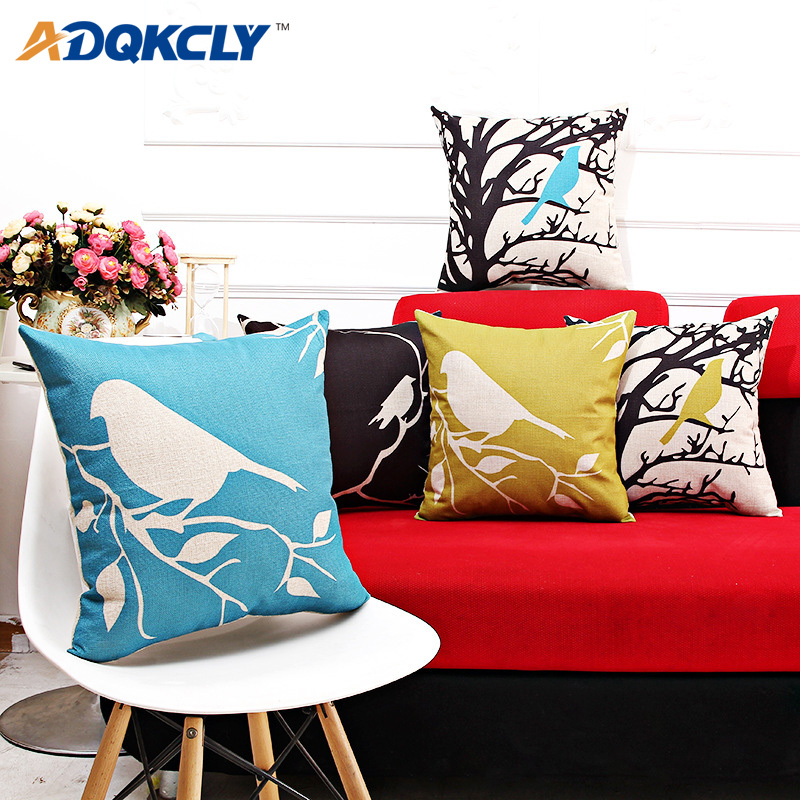 ADQKCLY American Style Cushion Cover Printing Birds