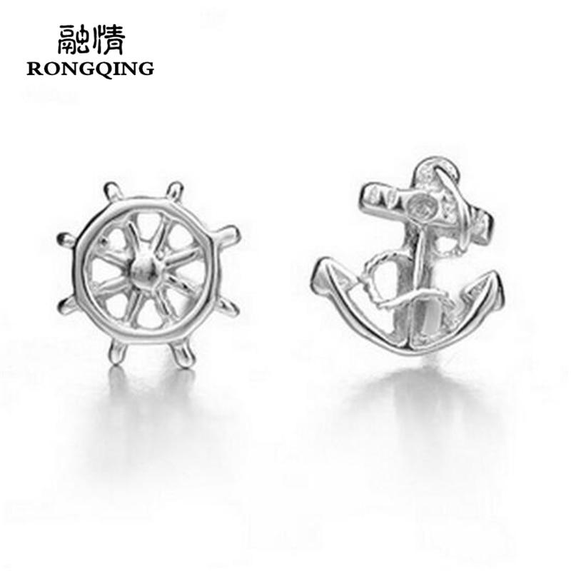 RONGQING 1Pari / lot Placată cu Argint Timp și Ancorare Cercei - Bijuterii de moda