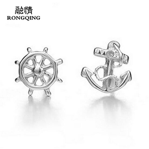 RONGQING 1Pair/lot Silver Plated Rudder&Anchor Stud Earring Cool Navigation Charms Stud Earrings for Women Sailor Jewlery