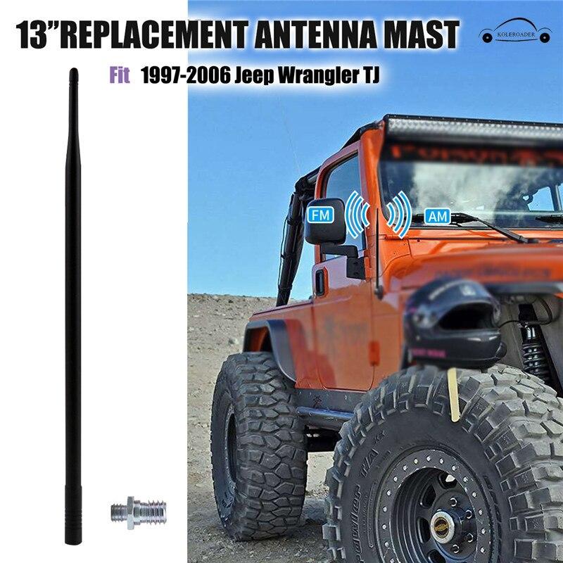 13 ''Pour 1997-2006 Jeep Wrangler TJ Voiture Radio Antenne Amplificateur FM Antenne Auto Antena FM Signal Aérienne Mât Toit KOLEROADER//