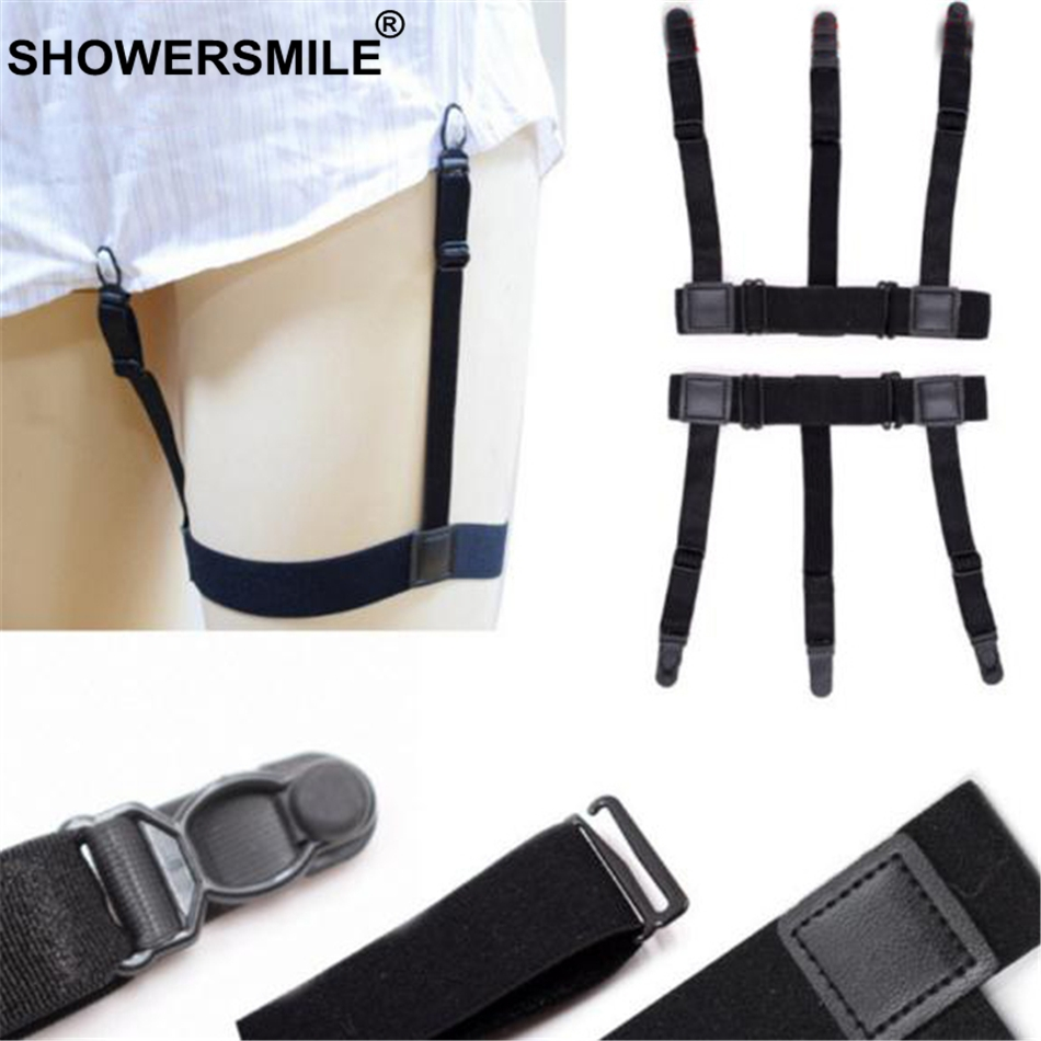 SHOWERSMILE Black Mens Shirt Stays Garters Leg Elastic Adjustable Shirt Suspenders Male Gentleman Braces Solid Shirt Holder Belt