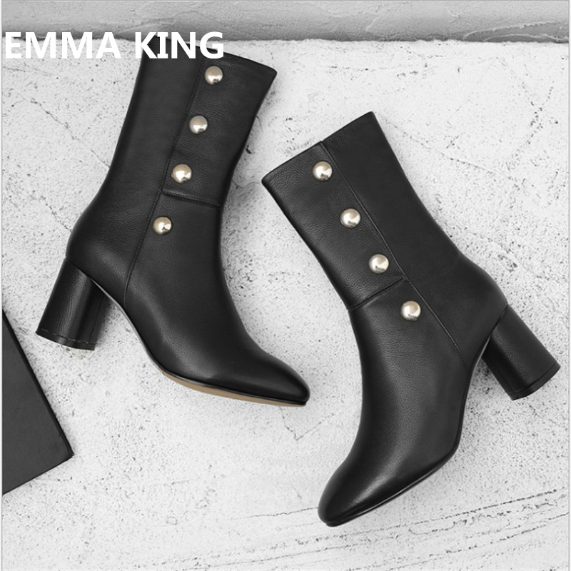 EMMA KING Concise Mid Calf Boots Women Pointed Toe Metallic Rivets Studded Chunky Thick Heel Short Boots Daily Dress Shoes Women dress emma monti платья и сарафаны приталенные