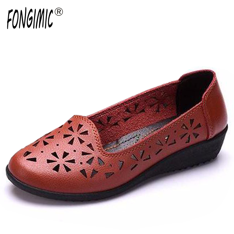 FONGIMIC Spring Summer Women Round Toe Fashion Flats Slip-on comfortable Shoes Flats cut-outs simple style casual flat shoes new