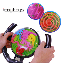 3D maze ball steering wheel model funny game kit with racing music,magic intellectual challenge IQ Balance family education toy