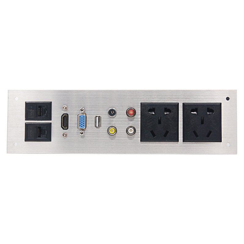 цена на LP902 multi-function desktop socket aluminum panel wall socket multimedia screen table plug