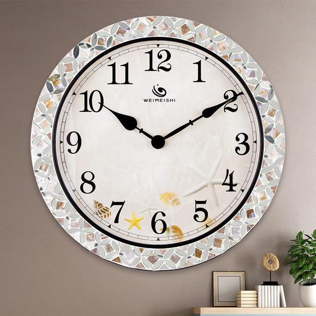 Mediterranean shell round metal clock table living room creative fashion mute big wall clock