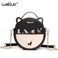 Cute Embroidery Cat Messenger Bag Women Small Circular Ears Crossbody Bags Teenage Girls Chain Shoulder Bag Mini Handbag XA25B