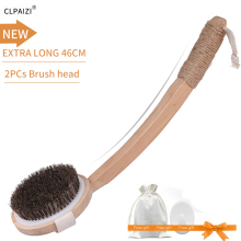 CLPAIZI Exfoliating Bath Brush Dry Skin Body Brush-Detachable Natural Bristle Bathroom Wooden Massage D30