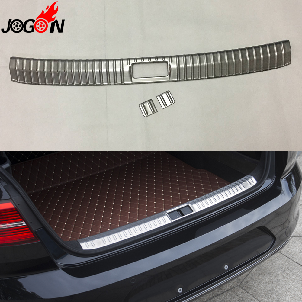 For VW Volkswagen Passat B8 2016 2017 Rear Trunk Tail Interior Bumper Sill Plate Cover Trim Stainless Steel car rear trunk security shield cargo cover for volkswagen vw tiguan 2016 2017 2018 high qualit black beige auto accessories