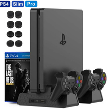 PS4 Slim/PS4 Pro/PS4 Vertical Stand Base Controller Charger Cooling Fan Game Disk Storage Tower For PlayStation 4 Dualshock 4 P4
