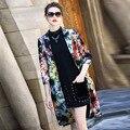 2017 estilo Britânico de moda mulheres primavera outono floral imprimir dobby longo divisão ocasional trabalho trench coat 8431 M-4XL